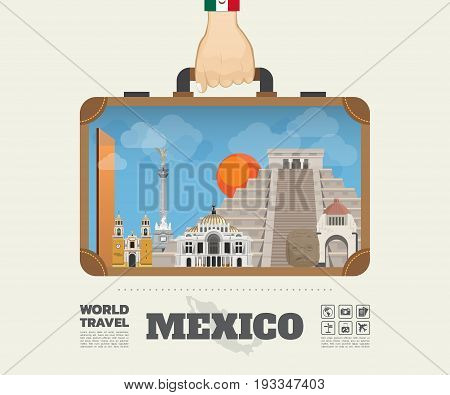 Hand Carrying Mexico Landmark Global Travel And Journey Infographic Bag. Vector Design Template.vect