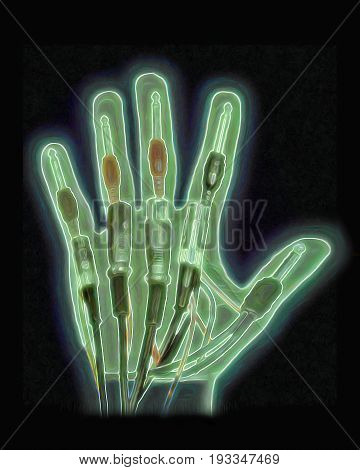 An X-ray effect hand with audio cables instead of bones.