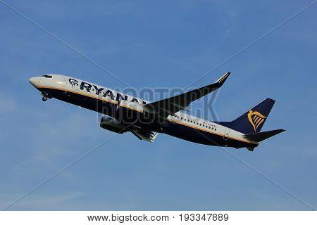 Amsterdam the Netherlands - June 2nd 2017: EI-FZX Ryanair Boeing 737-800 taking off from Polderbaan Runway Amsterdam Airport Schiphol