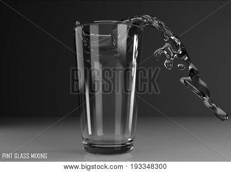 pint glass mixing 3D illustration on dark background
