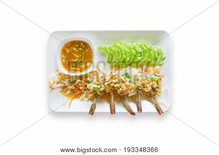 raw shrimp and spicy sauce seafood thailand (spicy salad shrimp in fish sauce). Thai food