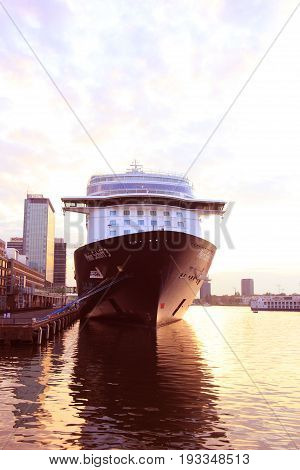 Amsterdam The Netherlands - May 11th 2017: Mein Schiff 3 TUI Cruises docked at Passenger Terminal Amsterdam