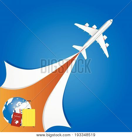 Airplane With Travel Sign Illustration