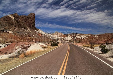 Scenic highway leading to Santa Elena Canyon in Big Bend National Park, Texas