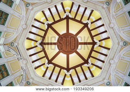 TOKYO, JAPAN - MAY 14, 2017 : Dome interior of Tokyo train station. Tokyo Station is a railway station in the Marunouchi Chiyoda, Tokyo, Japan.