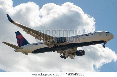 SHEREMETYEVO MOSCOW REGION RUSSIA - June 28 2017: Boeing 767-300 ER of Delta Air Lines Airlines makes a landing at Sheremetyevo International Airport.