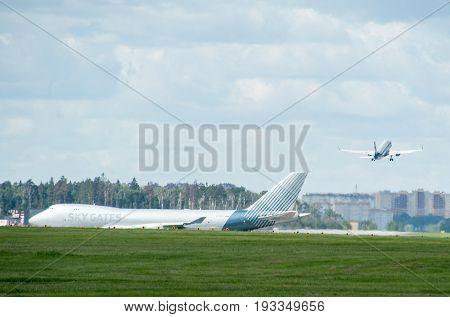 SHEREMETYEVO MOSCOW REGION RUSSIA - June 28 2017: Boeing 747-400F of Sky Gates Airlines at Sheremetyevo International Airport.