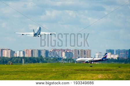 SHEREMETYEVO MOSCOW REGION RUSSIA - June 28 2017: Boeing 747-400F airlines Sky Gates takes off from Sheremetyevo International Airport.