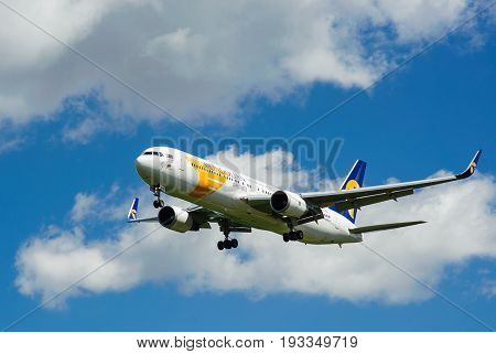 SHEREMETYEVO MOSCOW REGION RUSSIA - June 28 2017: Boeing 767-300 ER of MIAT Mongolian Airlines makes a landing at Sheremetyevo International Airport.