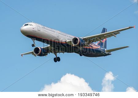 SHEREMETYEVO MOSCOW REGION RUSSIA - June 28 2017: Airbus A321 of Aeroflot Airlines in the livery in the symbolism of the Manchester United Football Club makes a landing at Sheremetyevo International Airport.