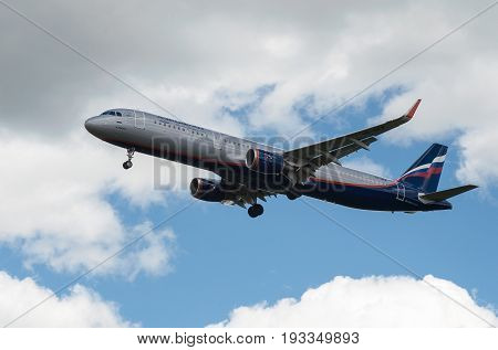 SHEREMETYEVO MOSCOW REGION RUSSIA - June 28 2017: Airbus A321 of Aeroflot Airlines makes a landing at Sheremetyevo International Airport.