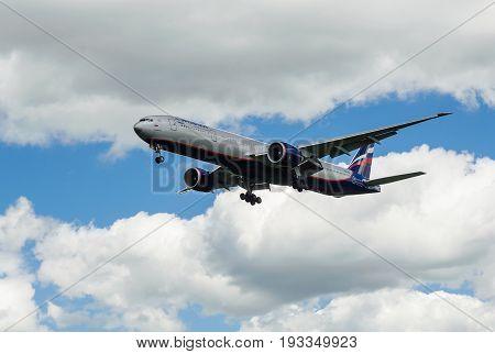 SHEREMETYEVO MOSCOW REGION RUSSIA - June 28 2017: Boeing 777-300ER of Aeroflot Airlines makes a landing at Sheremetyevo International Airport.
