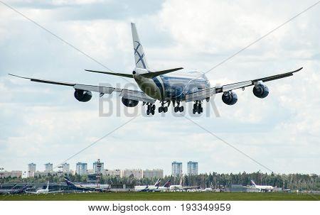 SHEREMETYEVO MOSCOW REGION RUSSIA - June 28 2017: Boeing 747-8F of AirBridgeCargo Airlines makes a landing at Sheremetyevo International Airport.