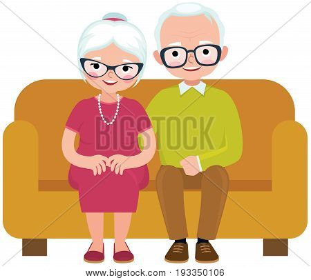 Elderly couple husband and wife sitting on couch embracing vector illustration