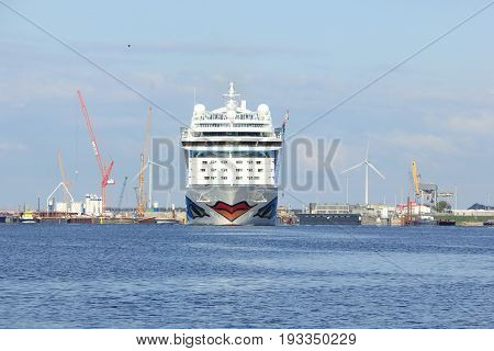 VVelsen the Netherlands -April 19th 2017: Aida Sol in IJmuiden sea lock the largest sea lock in the world
