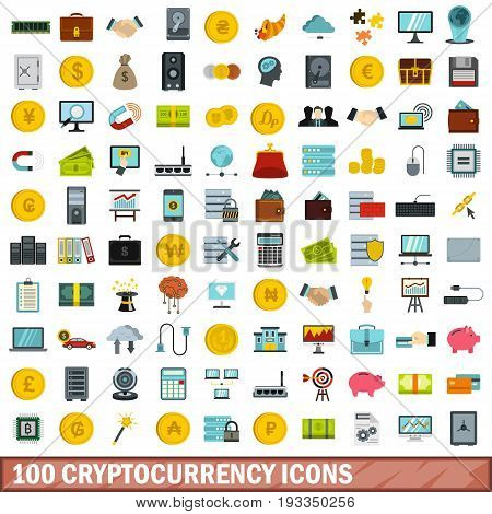 100 cryptocurrency icons set in flat style for any design vector illustration