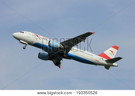 Amsterdam the Netherlands - June 2nd 2017: OE-LBK Austrian Airlines Airbus A320 taking off from Polderbaan Runway Amsterdam Airport Schiphol