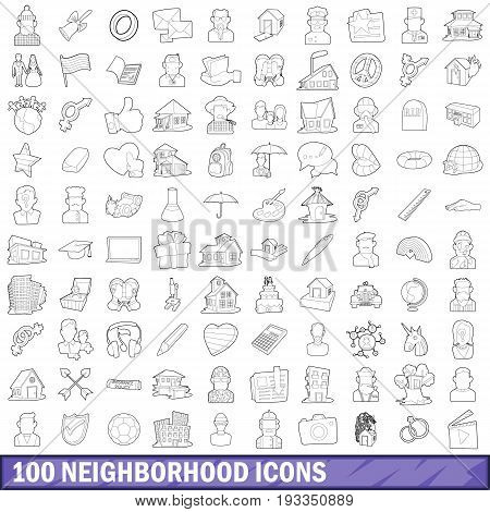 100 neighborhood icons set in outline style for any design vector illustration