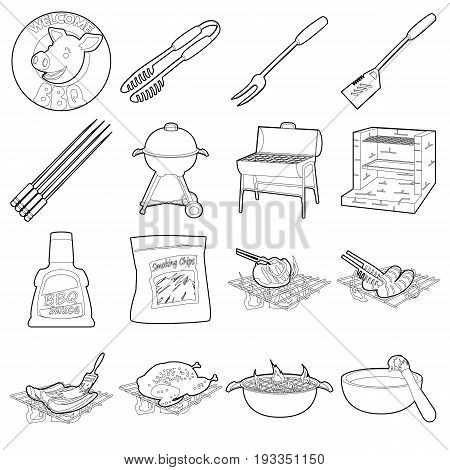 Barbecue tools icons set. Outline illustration of 16 barbecue tools vector icons for web