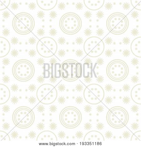 Mono Color Seamless Floral and Circular Pattern