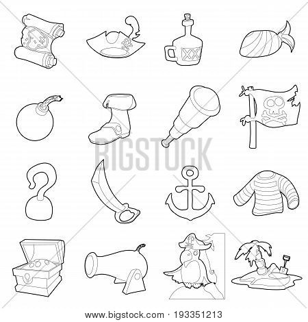 Pirate culture symbols icons set. Outline illustration of 16 pirate culture symbols vector icons for web
