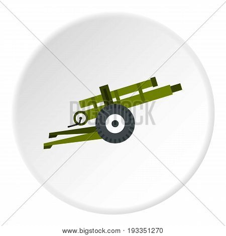 Artillery gun icon in flat circle isolated on white background vector illustration for web