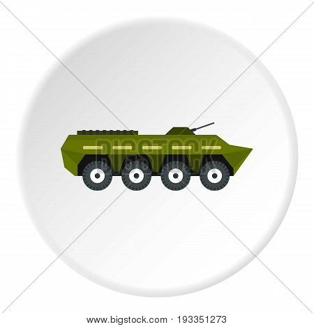 Armoured troop carrier icon in flat circle isolated on white background vector illustration for web
