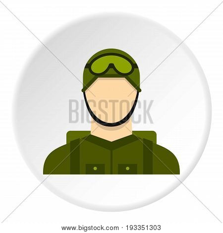 Military paratrooper icon in flat circle isolated on white background vector illustration for web