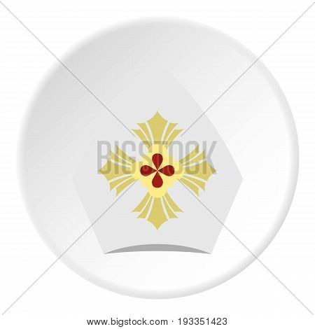 Catholic hat icon in flat circle isolated on white background vector illustration for web