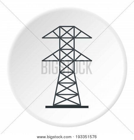 Electric power station icon in flat circle isolated on white background vector illustration for web