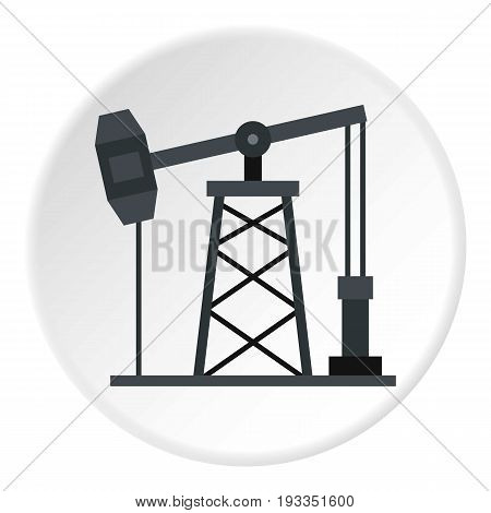 Oil pump icon in flat circle isolated on white background vector illustration for web