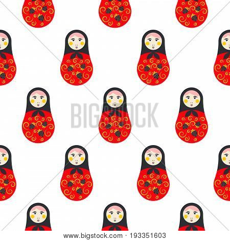 Russian doll matryoshka red seamless vector pattern. Traditional symbol background.