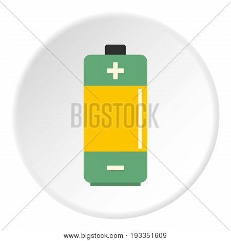 AA Alkaline battery icon in flat circle isolated on white background vector illustration for web