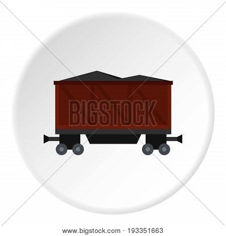Railway wagon loaded with coal icon in flat circle isolated on white background vector illustration for web