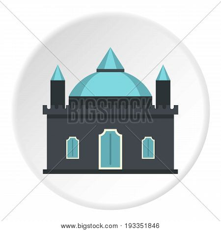 Kingdom palace icon in flat circle isolated on white background vector illustration for web