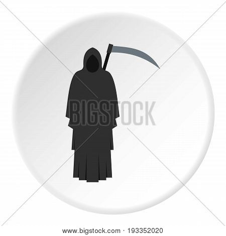 Grim reaper icon in flat circle isolated on white background vector illustration for web