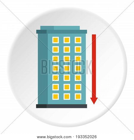 Building and red down arrow icon in flat circle isolated on white background vector illustration for web