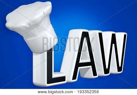 Toque Blanche On The Word Law 3D Illustration