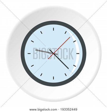 Round analog clock face icon in flat circle isolated on white vector illustration for web