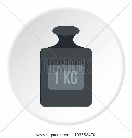 Weight 1 kg icon in flat circle isolated on white vector illustration for web