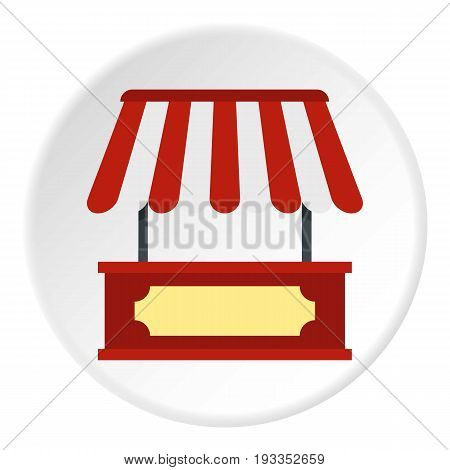 Market stall with red and white awning icon in flat circle isolated on white vector illustration for web
