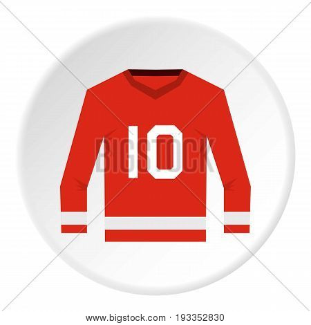 Red Canadian hockey jersey icon in flat circle isolated on white vector illustration for web