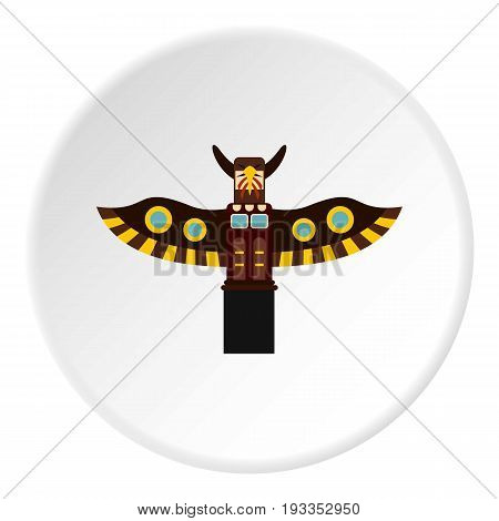 Indian totem pole in Stanley park, Canada icon in flat circle isolated on white vector illustration for web