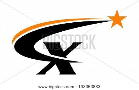 This image describe about Star Swoosh Letter X