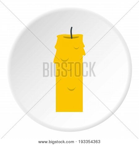 Paraffin candle icon in flat circle isolated on white vector illustration for web
