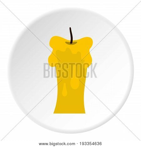 Waxen candle icon in flat circle isolated on white vector illustration for web