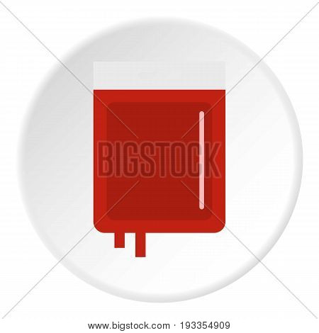 Blood transfusion icon in flat circle isolated on white vector illustration for web