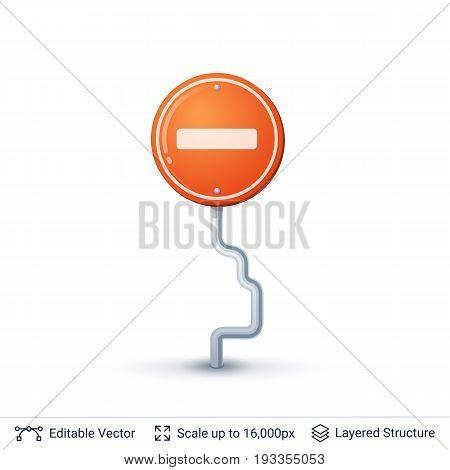 One way traffic road sign. Vector icon.