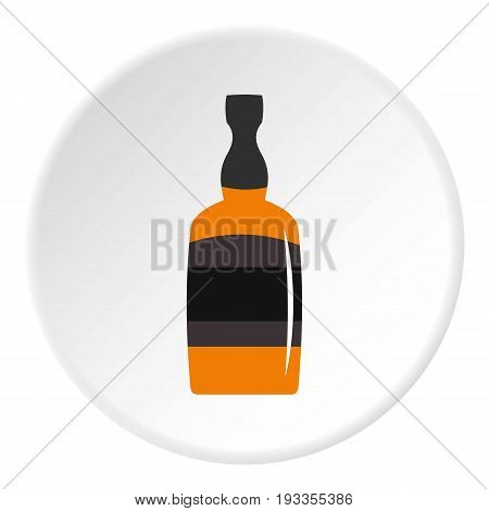 Brandy bottle icon in flat circle isolated on white vector illustration for web