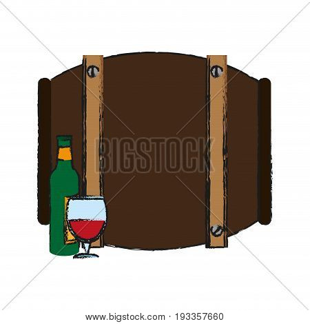 Barrel beverage dispenser draw vector illustration design graphic